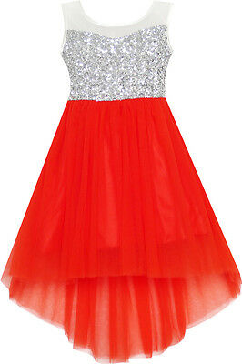 Flower Girl Dress Sequin Mesh Party Wedding Princess Tulle Red Age 7-14 Pageant](Flower Girl Age)