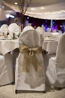 For Sale - White round polyester banquet hall chair covers