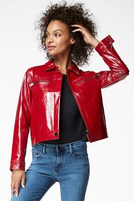 New with Tag - $998 J BRAND Yvette Venetian Patent Red Leather Jacket Size XS
