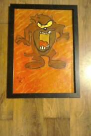 Acycrilc painting signed framed a4 on canvas .taz cartoon