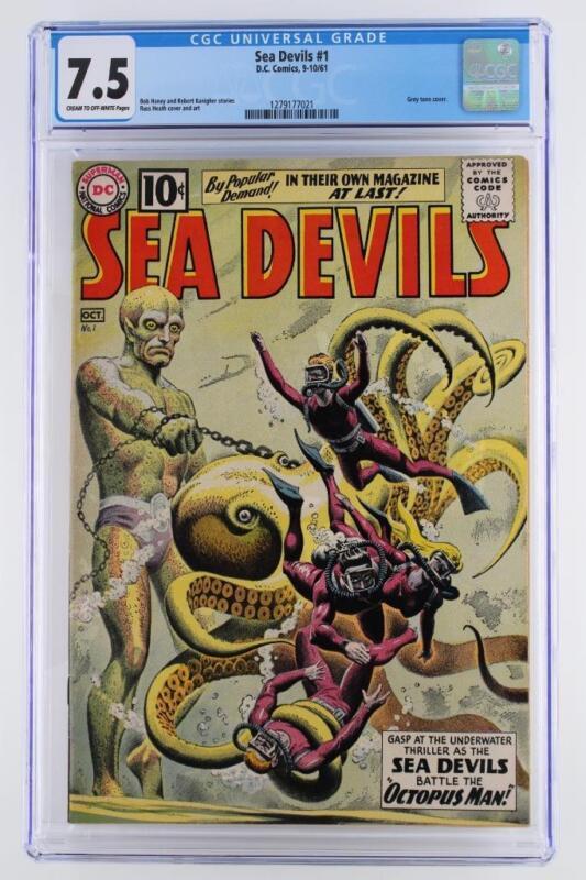 Sea Devils #1 - CGC 7.5 VF- DC 1961 - Grey tone cover!!!