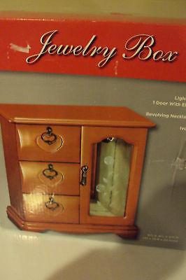 JOYERO Light Oak Finish Etched Glass Jewelry Box Armoire