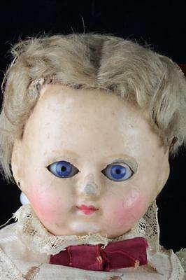 "Antique 16"" Wax On Composition Shoulder Head Doll Compo Body+Sleep Eyes - French"