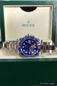 Rolex submariner BLUE dial gold bimetal luxury automatic divers watch new in Swiss wave box N 00 B