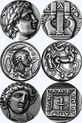 Apollo Son of Zeus 3 Famous Greek Coins Percy Jackson Fans, Mythology (3APOL-S)