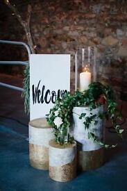 Fake wooden logs. Perfect wedding decor.