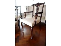 Edwardian set of 4 Dining chairs and Carver, Mahogany frames C1905 Hall Bedroom