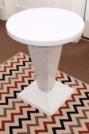 White metal pedestal table