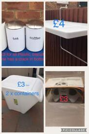 Shelf , 2 x LG tubs , massage glasses, tea coffee and sugar containers