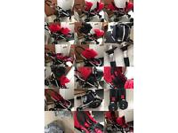 Red city select, double/single/pushchair, twin