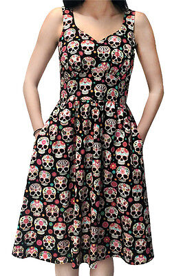 FOLTER PRETTY SKULLS DRESS DAY OF THE DEAD COLORFUL ROCKABILLY GOTH RETRO - Day Of The Dead Attire