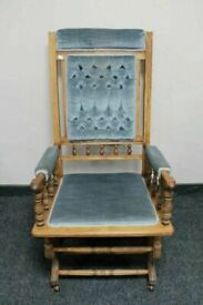 CAN DELIVER - AMERICAN ROCKING CHAIR IN BLUE FABRIC IN VERY GOOD CONDITION