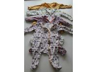 Bundle of Kapbula Organics Zipped Sleepsuits - 0-3 months