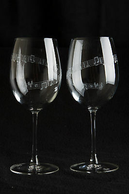 MUSIC GIFT*  set of 2 large Crystal Wine glasses - Music Bar - Gift Boxed