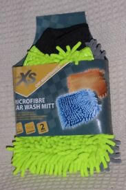 AutoXS Microfibre Car Wash Mitts for Cleaning and Scrubbing, Packet of 2, Lime Green & Grey, Histon