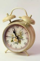 NEW! Victorian Trading Company Shabby Chic Cottage Roses Alarm Clock