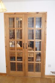 Internal solid wood and glazed panels double doors