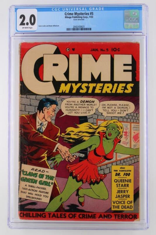 Crime Mysteries #5 - CGC 2.0 GD - Ribage 1953!