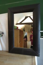 Mirror, brown faux leather frame