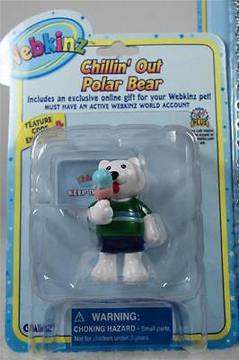 Webkinz Set of 3 'Vhillin' Out Polar Bear Figurine+Necklace+Stickers' All NEW!