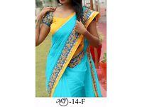 Bollywood Indian Party Wear Beige Pink Saree Sari Bridal Wedding Pakistani Sai-8