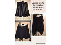 3 Ladies Black Skirts All New Sizes 8/10