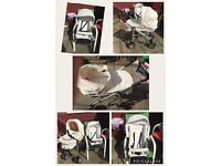 Babystyle white leather pram
