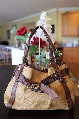 FRANCESCO BIASIA ELECTRA  Tan Straw Woven Tote Bag (PU3000