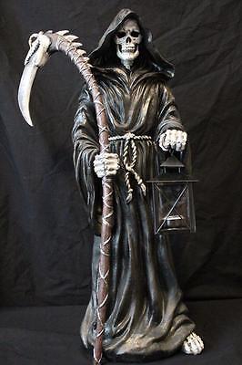 """Grim Reaper Statue Lantern Candleholder Skeleton 24""""  Dragon Skull Scythe New"""