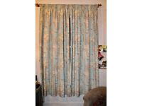 Pair of lined curtains, map design & 86 inch drop