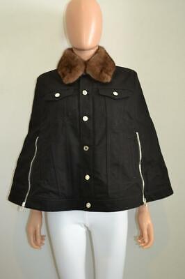 Mink Poncho (Givenchy Black Denim Cape/Poncho/Coat w/Mink Collar Size)
