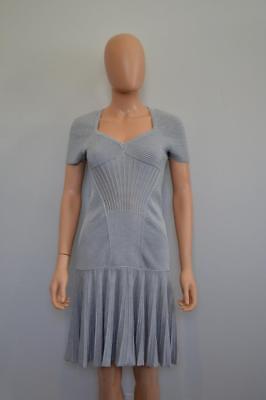 NWT Alexander McQueen Grey/Silver Wool Blend Cap Sleeve Dress Size L