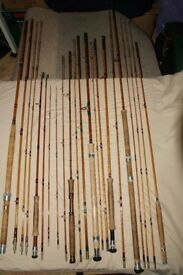 Quality collection of split-cane (bamboo) Hardy's and other quality rods, (may sell individually).