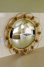 MIRROR. Round with decorative leaf pattern surround EXCELLENT CONDITION