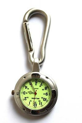 Silver Clip on Carabiner FOB Watch for Doctors Nurses Paramedics Chefs Sports