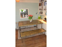 Large Industrial Kitchen Table and x2 Benches Mid Century Style hairpin 140x70cm