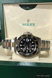 Rolex submariner black dial gold bimetal luxury automatic divers watch new in Swiss wave box N 00 B