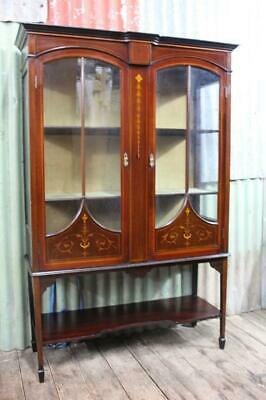 A Sheraton Revival Astragal Glazed Display Cabinet Inlay & Stringing C.1900's