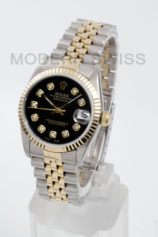 Rolex Ladies Midsize Datejust 18k Gold & Steel Black Diamond Jubilee Quickset 2y