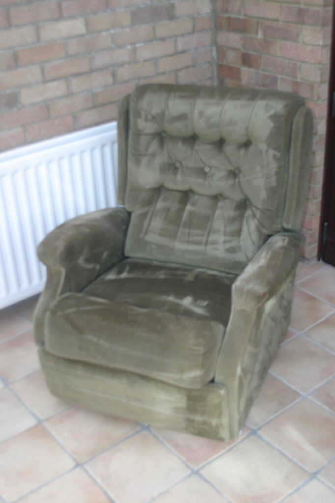 A very comfortable recliner chair in Green Draylon (not fire compliant !)