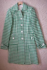 Women's Vintage Retro Style Kelly Green White Houndstooth Coat Windsor Region Ontario image 1