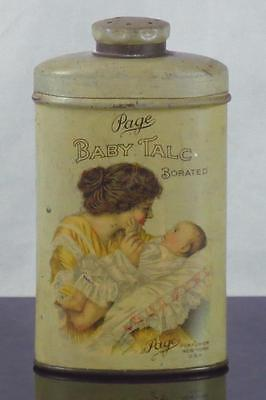 Vintage PAGE BABY TALC Perfumed Talcum Talc Powder Tin with Contents