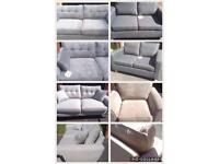 Selection of brand new grey sofas and natural arm chair