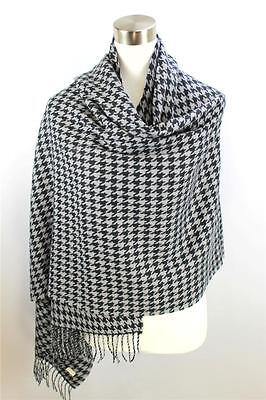 Houndstooth Wrap - CLASSIC Warm Black Gray Houndstooth CASHMERE TOUCH 100% Acrylic Scarf Wrap Shawl