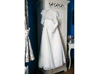 Size 24 cream wedding dress, mid-calf length, 50s tea-dress style