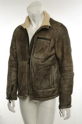 DDC LAB Mens Brown Bronze Distressed Suede Shearling Aviator Jacket Coat M