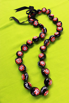 Hawaii Wedding Kukui Nut Lei Necklace ~ BLACK W/ RED HIBISCUS/HAWAII ( QTY 2 )