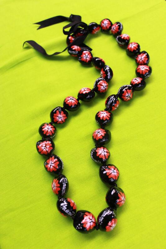 Hawaii Wedding Kukui Nut Lei Necklace ~ BLACK W/ RED HIBISCUS/HAWAII ( QTY 2 )