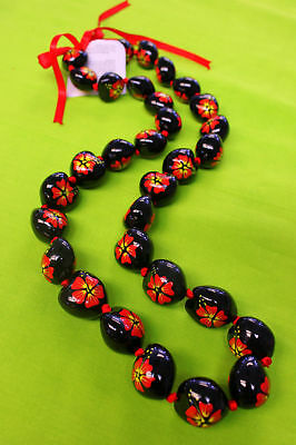 Hawaii Wedding Graduation Kukui Nut Lei Necklace BLACK & RED HIBISCUS ( QTY 2 )