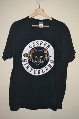 RETRO BLACK GILDAN CASPER HINTERLAND CAT PRINT LINITED EDITION T-SHIRT UK LARGE